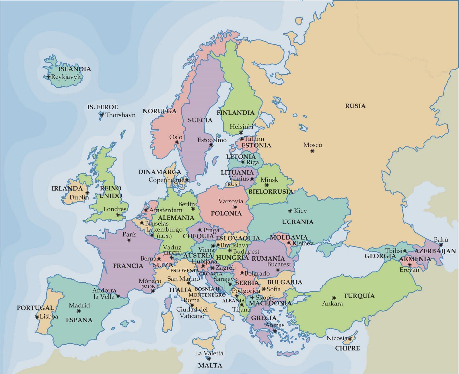 Mapa De Los Paises Del Continente Europeo Www Elhistoriador Es